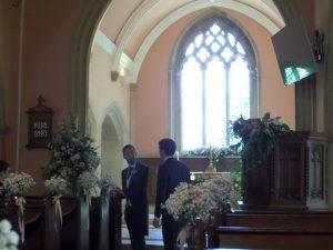 Wedding flowers in St Catherine's Chapel 25JUL2014
